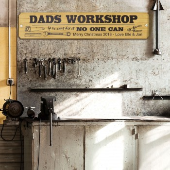 Dad's Workshop Sign Printed Timber Christmas Gift Tool Shed Garage Bamboo