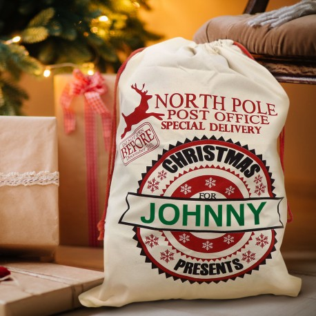 Personalised Santa Sack Christmas Stocking North Pole Post Office Special Delivery