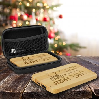 Personalised Bamboo Power Bank Portable Charger 4000mAh Engraved Christmas Gift