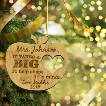 Teachers Bamboo Apple Tree Decoration Personalised Christmas Gift