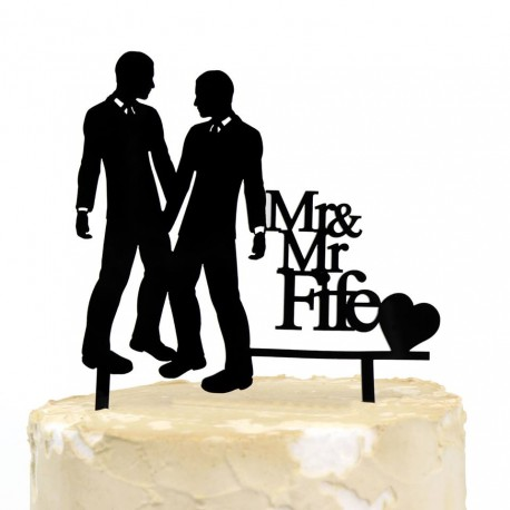 Personalised Wedding Surname Cake Topper Gloss Acrylic Mr & Mr Same-Sex Gay Marriage