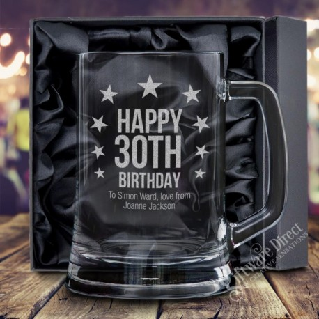 Stars Premium Personalised Birthday Beer Mug - 18th 21st 30th