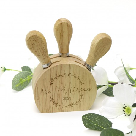 Cheese Utensil Block Personalised Engraved Wedding Gift with Three Utensils