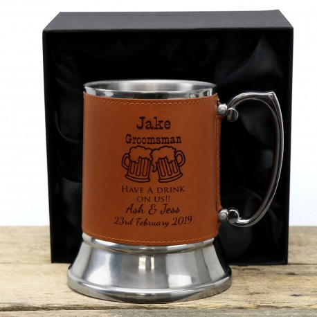 Wedding Tankard Beer Mug Personalised Engraved Stainless Steel with Leather ette Wrap