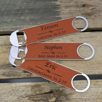 Engraved Stainless Bottle Opener Waiters Friend with Leatherette Panel