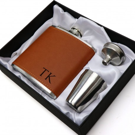 6oz Leatherette / Silver Hip Flask Gift Set Limited Edition Intials Design