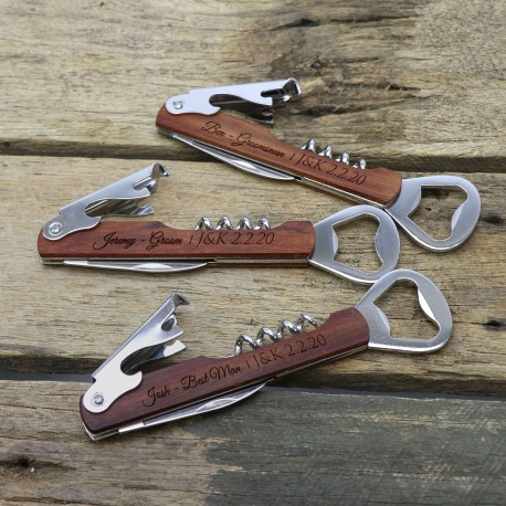 Engraved Timber Corkscrew with Four Stainless Steel Tools