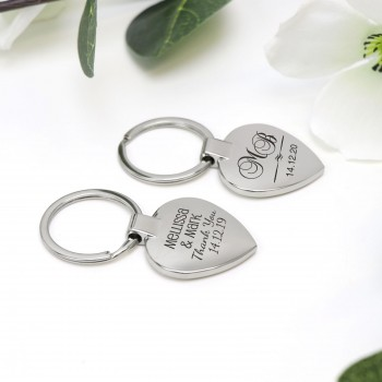 Engraved Silver Heart Keyring with Gift Box