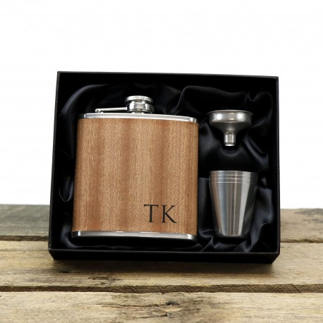 Wood Wrapped Stainless Steel Hip Flask Gift Boxed Wedding Groomsman Groom Gifts