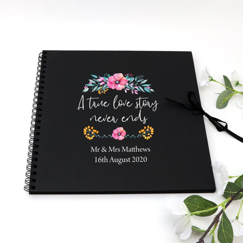 Novel Ideas For Wedding Reception: Printed Personalised Guest Book Spiral Black Wedding
