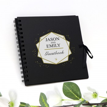 "Large Personalised Guest Book Black Wedding Signing Photo Album 12"" x 12"""