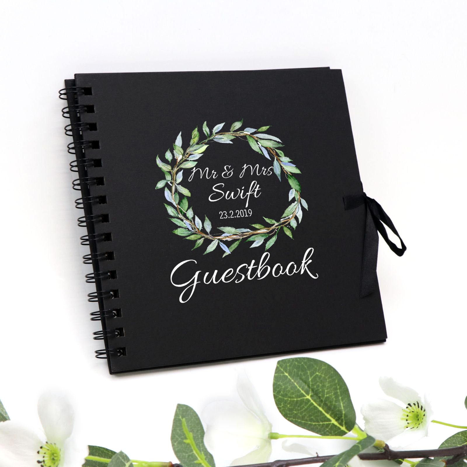 37feb260c4dbf Printed Personalised Guest Book Spiral Black Wedding Signing Book ...