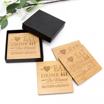 Personalised engraved wooden coaster wedding favour