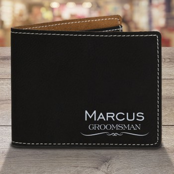Personalised Mens Wallet Engraved Groomsman Gift