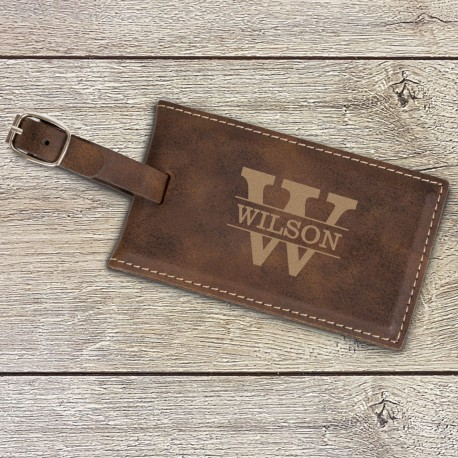 Personalised Brown Luggage Tag Engraved