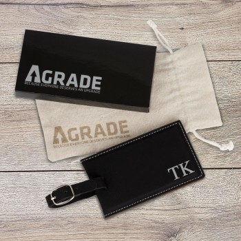 Engraved Black Luggage Tag