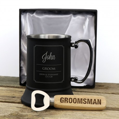 Matte Black Beer Mug Groomsman Gift Pack with Engraved Timber Bottle Opener