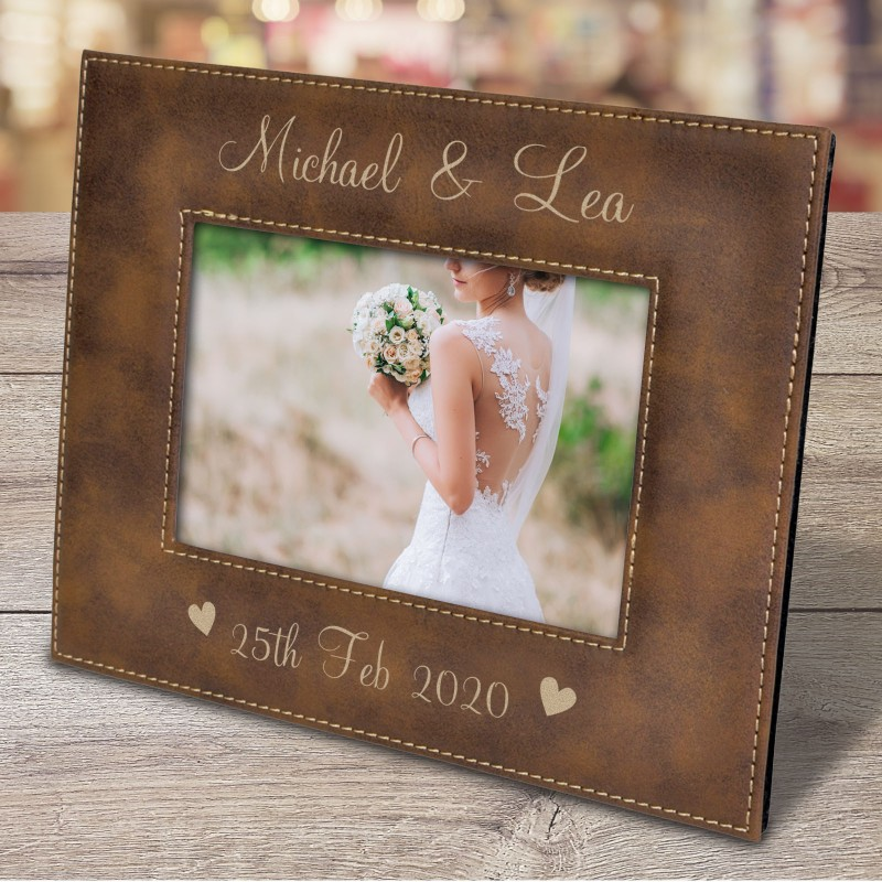 personalised-photo-frame-engraved-brown-leatherette-frame