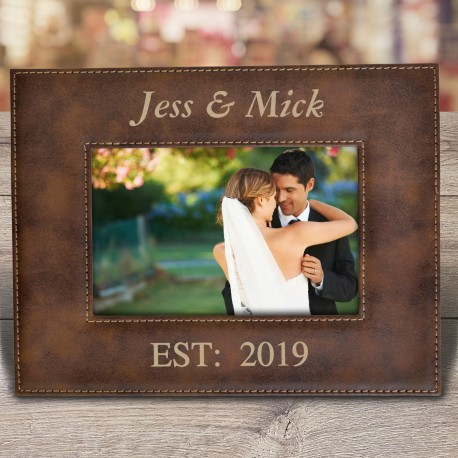 Personalised Photo Frame Engraved Brown Leatherette Frame