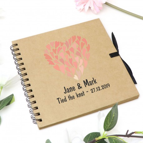 "Personalised Guest Book with Brown Cover and Kraft Paper 8"" x 8"""