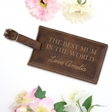 Personalised Brown Luggage Tag Mothers Day Gift