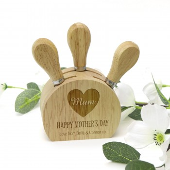 Engraved Mothers Day Small Cheese Utensil Block with Three Utensils