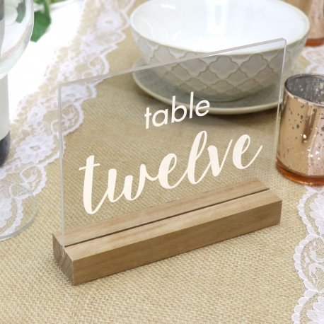 Clear Engraved Table Number with Timber Base - Any Number