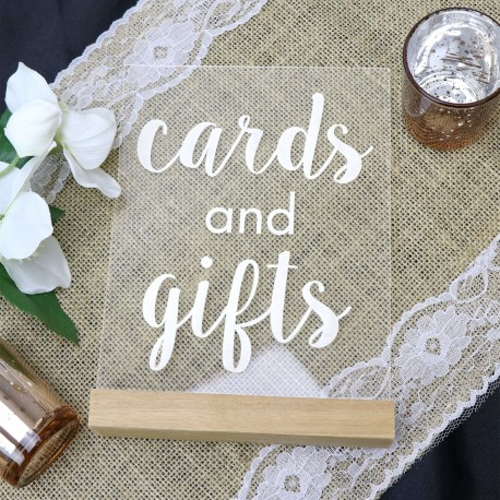 Clear Acrylic Cards and Gifts Wedding Table Sign with Timber Base