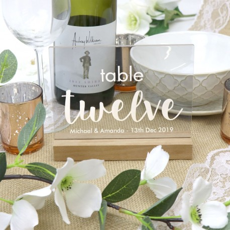 Clear Personalised Table Number Engraved Acrylic with Timber Base