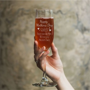 Personalised Engraved mothers champagne glass