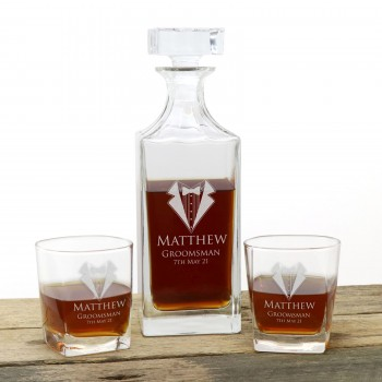 Engraved Whiskey Decanter set with Two Whiskey Glasses