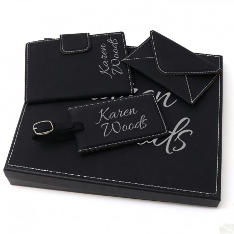 Engraved Travel Gift Set Mothers Day Black Leatherette