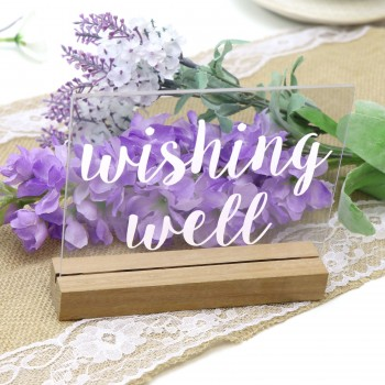 Clear Wishing Well Sign - Acrylic with Timber Base