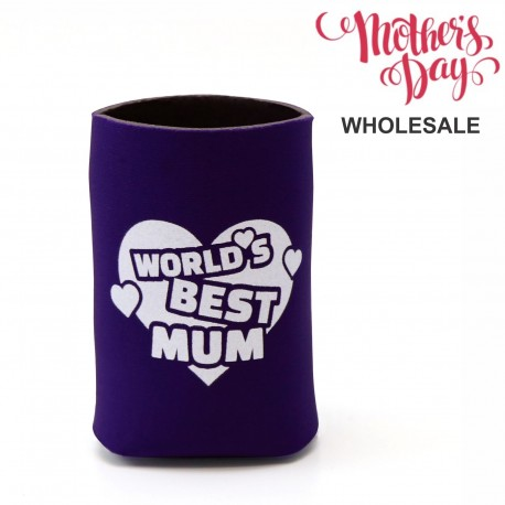 World's Best Mum Stubby Holder Mothers Day School Fundraising Gift