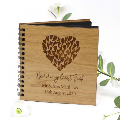Engraved Wedding Guest Book - Cherry Timber Hard Cover with 40 Pages