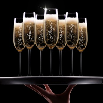 Engraved Champagne Glass with Limited Edition Design
