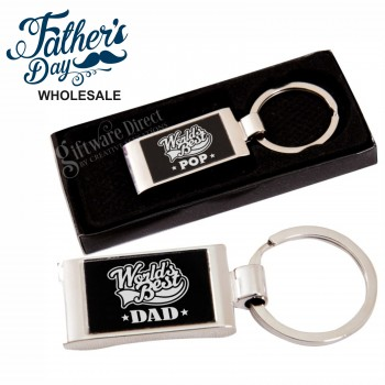 fathers day worlds best dad engraved keyring gift boxed chrome