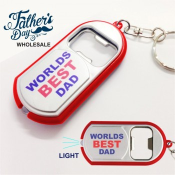 LED Light Keychain Bottle Opener Worlds Best Dad Fathers Day Stall