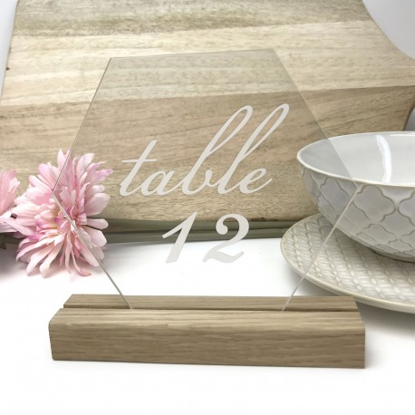 Clear Hexagon Table Number - Acrylic with Timber Base