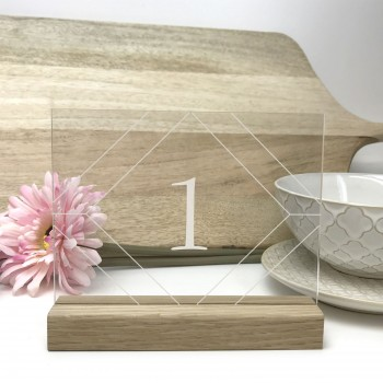 Clear Geometric Table Number - Acrylic with Timber Base