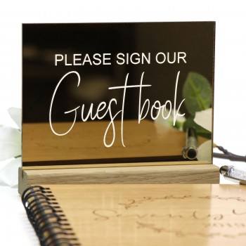 Gold Guest Book Sign - Acrylic with Timber Base