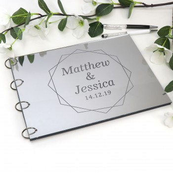 Personalised Mirror Silver Acrylic A4 Wedding Guest Book