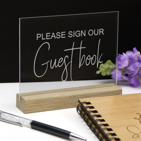 Clear Guest Book Sign - Acrylic with Timber Base