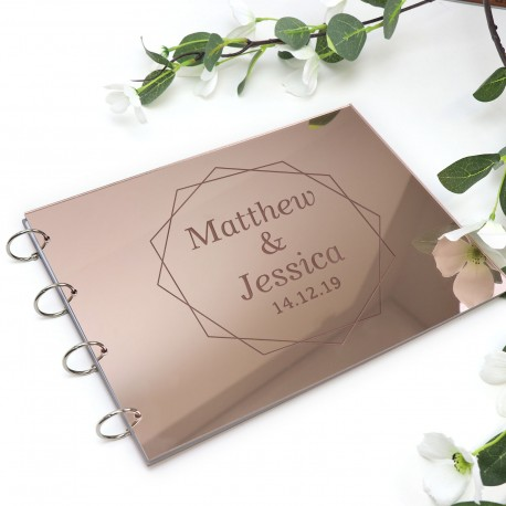 Engraved Rose Gold Gloss Acrylic A4 Wedding Guest Book