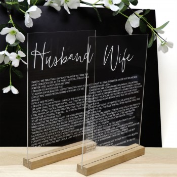 Clear Acrylic Husband and Wife Vows Sign - Printed Acrylic in Timber Bases