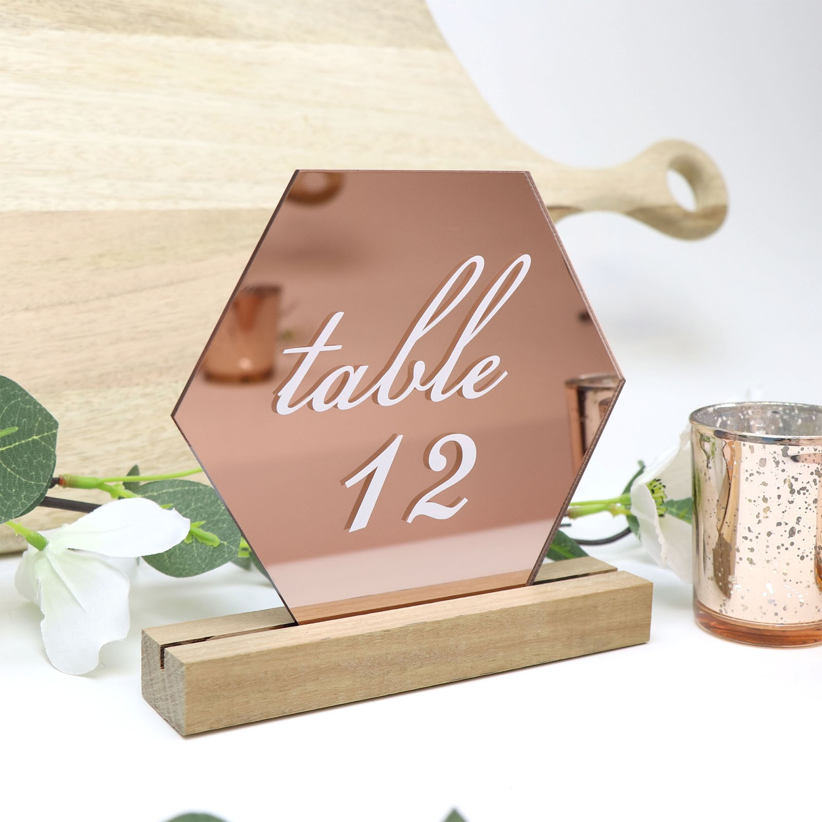 Wedding Table Number Printed Rose Gold Hexagonal With Timber Base