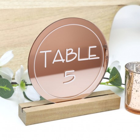 Rose Gold Round Table Number - Acrylic with Timber Base
