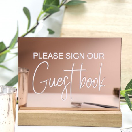 Rose Gold Guest Book Sign - Acrylic with Timber Base