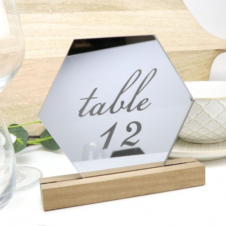 Mirror Silver Hexagon Table Number - Acrylic with Timber Base