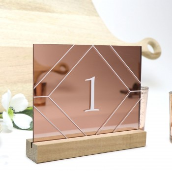 Rose Gold Geometric Table Number - Acrylic with Timber Base